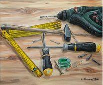Schraube, Acrylmalerei, Bohrmaschine, Werkzeug