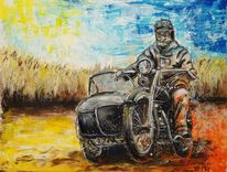 Oldtimer, Ausflug, Motorrad, Landpartie