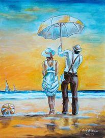 Sonnenschirm, Strand, Hitze, Gelb blau hut