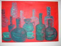 Farben, Vase, Rot, Flasche