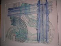 Aquarellmalerei, Geometrisch, Abstrakt, Linie