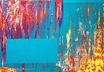 Türkis, Acrylmalerei, Pink und orange, Abstrakt