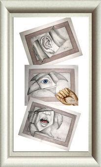 Zeichnung, Hören, Rede, Augen