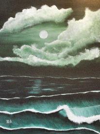 Strand, Storm, Ozean, Mond