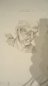 Bleistiftzeichnung, Zeichnung, Mann, Kopf