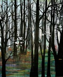 Schmetterling, Baum, Wald, Malerei