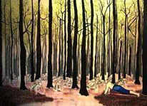 Wasser, Wald, Baum, Sonnenuntergang