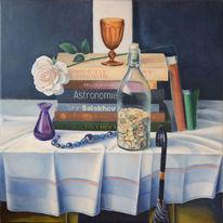 Buch, Stillleben, Flasche, Malerei