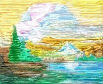 See, Bergsee, Natur, Malerei