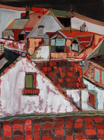 Haus, Stadt, Dach, Dorf