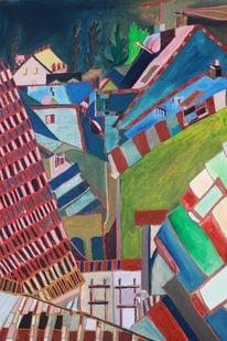 Haus, Straße, Dorf, Fenster