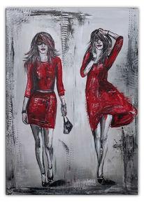 2 ladys, Rote kleider, Acrylmalerei, Rot