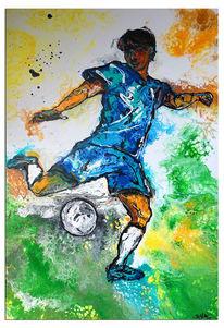 Abstrakte malerei, Fußball, Spieler, Blau grün gelb