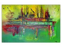 Abstrakte kunst, Gelb, Acrylbild abstrakt, Malen