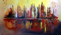 Malen, Gelb, Rot, Acrylmalerei