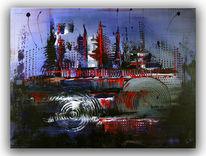 Acrylmalerei, Gemälde, Blau, Atlantis