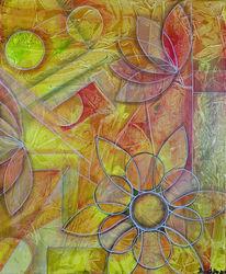 Gelb grün, Abstrakte blumen, Blumen, Malerei