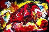 Stier, Malen, Auftragsmalerei, Abstrakte malerei