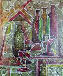 Acrylmalerei, Weinflaschen, Malerei, Gemälde