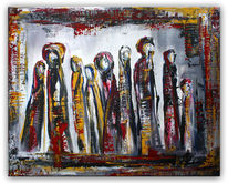 Versammlung, Acrylmalerei, Figur, Struktur