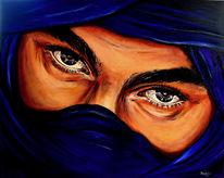 Gold, Wandbild, Gemälde, Portrait tuareg