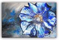 Gemälde, Blumen, Blau, Weiß