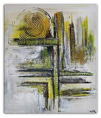 Handgemalt original, Gelb grün grau, Stadtteil, Abstrakte kunst