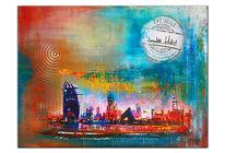 Malerei, Stadt, Moderne kunst, Wandbilder abstrakt