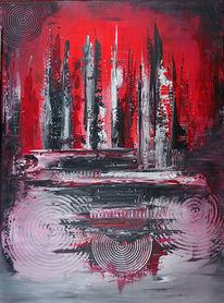 Malen, Handgemaltes bild, Rosa, Abstrakte kunst