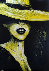 Frauen portrait, Acrylmalerei, Frau mit hut, Figur