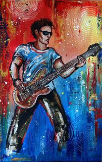 Bassist, Modernes wandbild, Gemälde, Musiker