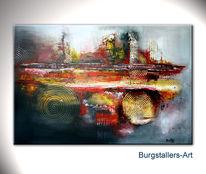 Abstrakt, Gold, Acrylmalerei, Rot