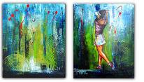 Golfspielerin, Golf, Gemälde, Zweiteilig