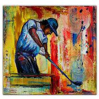 Golfspieler handgemalt, Blau rot gelb, Malerei,