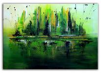 Stadt, Malerei, Acrylbild abstrakt, Moderne kunst