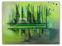 Abstrakt, Acrylmalerei, Wohnzimmer, Grün