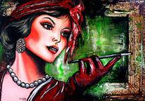 Frau, Gemälde, Dekoration, Kokett