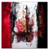 Grau, Abstrakt, Gemälde, Rot schwarz