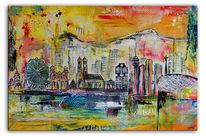 Abstrakt, Gemälde, Skyline, Malerei