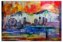 München, Malen, Acrylmalerei, Skyline