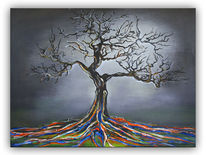 Acrylmalerei, Mystik, Rot, Baum handgemalt