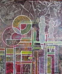 Acrylmalerei, Grau, Figuren abstrakt, Rot