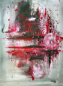 Abstrakt, Navigation, Acrylmalerei, Rot