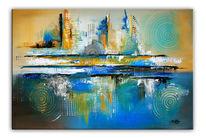 Moderne malerei, Abstrakt, Blau, Moderne kunst