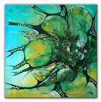 Blau, Grün, Acrylmalerei, Malen