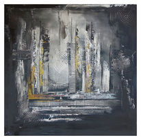 Malerei, Gemälde, Schwarz grau ocker, Abstraktes kunstbild
