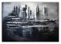 Schwarz weiß, Grau, Gemälde, Abstrakt