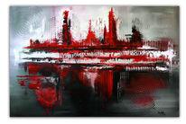 Moderne malerei, Rot, Gemälde, Wand