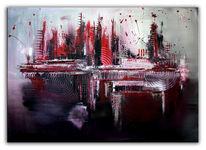 Silber, Rot, Acrylbild abstrakt, Malerei
