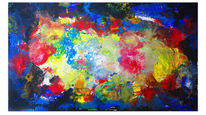 Acrylmalerei, Blau gelb rot, Malen, Malerei